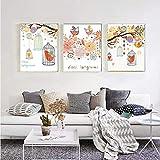 Cartel nórdico Fondo floral Pájaros Flor Decoración para el hogar Imagen de arte de pared Impresión en lienzo Decoración de la sala de estar Decoración de la habitación del bebé-40x60CMx3 Sin marco