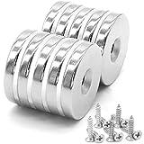 10 Stück Neodym Disc Senkkopf Loch Magnete 30mm x 5mm, 12 kg Zugkraft, Starker Schraubmagnete mit 10 Schrauben zum Basteln