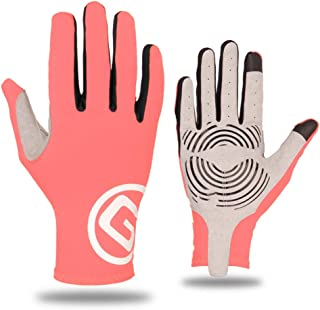 JCCOZ Touch Screen Gloves Riding Sports Gloves Bicycle Trainer Non-Slip Touch Screen Gloves (Color : Pink, Size : L)