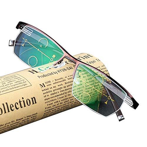 Bifokale Lesebrille, Progressive multifokale Business-Brille für Herren, stilvolles Aussehen und kristallklare Sicht, Komfortfederarme, Halbrandbrille