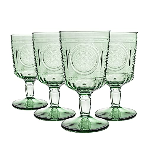Bormioli Rocco Lunettes Romantique de vin Set - Verre Vintage Cut Italien Gobelets - 320ml - Vert - Lot de 12