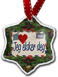 Christmas Craft Tree Decorations I Love You Norwegian Love Letter From Norway Christmas Ornament Custom Xmas Gift