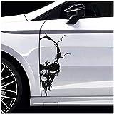 Finest Folia Skull Totenkopf Aufkleber Sticker Dekor Folie Autoaufkleber Tattoo für Auto LKW Wohnwagen (Schwarz Glanz, 50x24 cm (KX041))