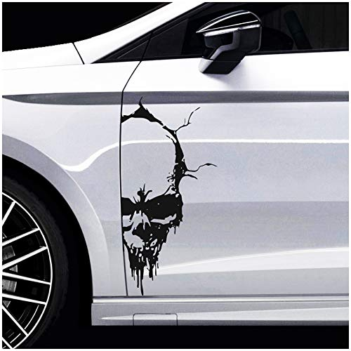 Finest Folia Skull Totenkopf Aufkleber Sticker Dekor Folie Autoaufkleber Tattoo für Auto LKW Wohnwagen (Schwarz Matt, 50x24 cm (KX041))