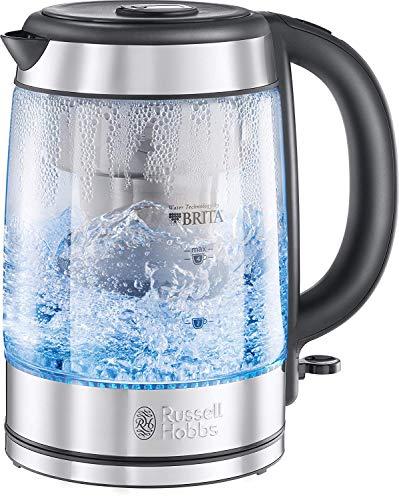 Russell Hobbs Bouilloire en Verre Filtrante 1L, Cartouche Filtre à Eau Brita Inclus - 20760-57 Clarity