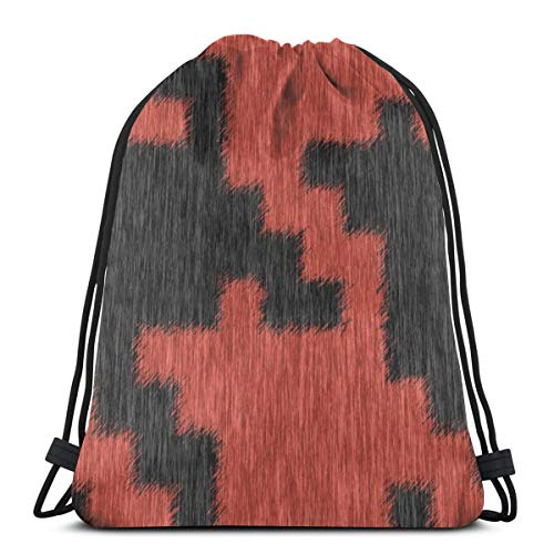 Fuzzy Coral And Black Houndstooth Plaid Drawstring Bag Lightweight Gym Sackpack for Hiking Yoga Gym Swimming Travel Beach