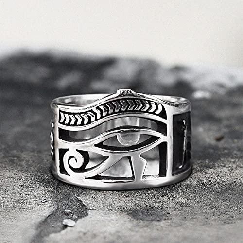 WTZWY Color Plateado Ojo Egipcio de Horus Ankh Cruz Anillos Simbólicos Egipto Amuleto Joyería Regalo, el Diseño Tiene Bordes Lisos y Diseño Hueco Tridimensional,14