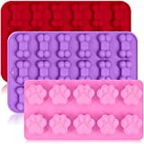 3 Pack Silicone Ice Molds Trays with Puppy Dog Paw and Bone Shape, FineGood Reusable Bakeware Maker for Baking Chocolate Candy, Oven Microwave Freezer Dishwasher Safe - Pink, Red ,Purple