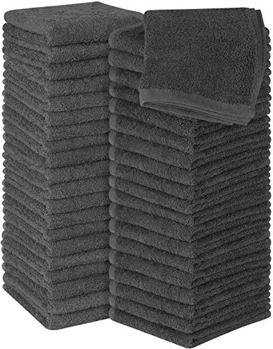 Utopia Towels Cotton Grey Washcloths Set - Pack of 60-100% Ring Spun Cotton, Premium Quality Flannel Face Cloths, Highly Absorbent and Soft Feel Fingertip Towels