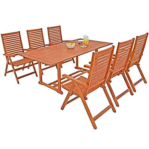 Deuba® 6+1 Sitzgarnitur Unikko | Eukalyptusholz inkl. 6 Auflagen grün | Sitzgruppe Essgruppe Tischgruppe Garten Möbel Set