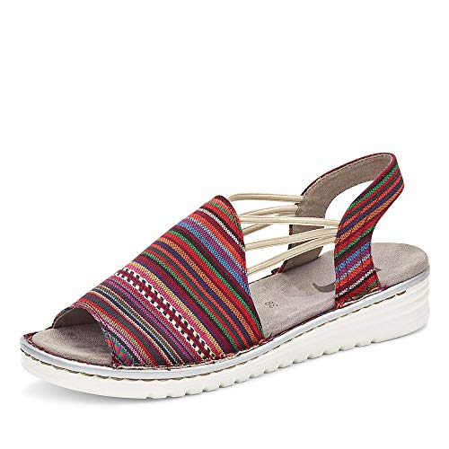Jenny 2257260 77 Havanna Damen Sandale aus Canvas mit Gummizügen Textilfutter, Groesse 39, bunt