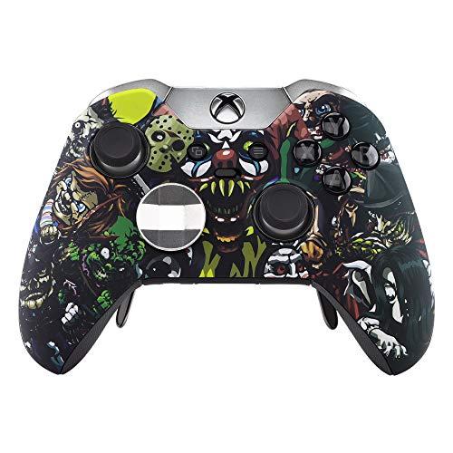 eXtremeRate Scary Party gemusterte Frontplatte, Soft Touch Front Gehäuse Shell Case, Bequemer Soft Grip Ersatz-Kit für Xbox One Elite Controller Modell 1698