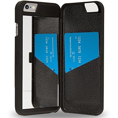 NALIA Custodia Specchio compatibile con iPhone 6 6S, Ultra-Slim Mirror Case Wallet Cover Protettiva Cellulare, Phone Bumper Telefono Copertura a Libro Protezione Sottile, Colore:Nero