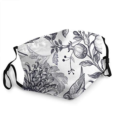 Vintage Japanese Chrysanthemum Flowers Pomegranates Branches Nature Pattern Mouth Cover for Women,Face Mask Reusable Washable,Mask Cloth Washable,Face Masks Washable Cloth Men
