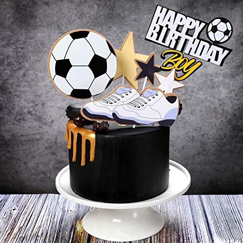 Simon Lee Woodham 6 Pezzi Decorazione Torta di Compleanno di Calcio, Decorazioni per Torta di Calcio, Buon Compleanno Cake Topper, per Feste di Calcio Decorazioni per Feste Sportive