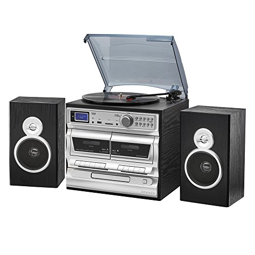 Zennox Midi Hi-Fi Music System 7-in-1 with Alarm, DAB/AM/FM Radio, Vinyl...