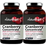 Cranberry Whole Fruit Concentrate (Made with Organic Cranberry Powder), 180 Capsules, Equivalent to 36,000mg of Fresh Cranberries, Great Cranberry Supplement, 2-Pack