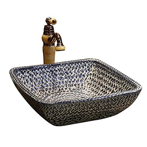 Lavabo Sobre Encimera Baño Cerámica Cuadrado, Lavamanos Sobre Encimera Acabado Liso, Fregadero Con Textura De Piedra [fácil Instalación] Para Mue(Size:Combinación de lavabo + grifo y desagüe Blue Art)