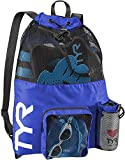 TYR Big Mesh Mummy Backpack for Wet Swimming, Gym, and Workout Gear Royal, One Size