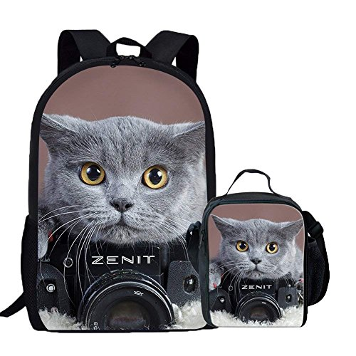 Nopersonality School Bag and Lunch Bag Set for Boys Girls Kids Backpack for School Outdoor Daypack Childs Ruck Sacks Camera Cat Grey