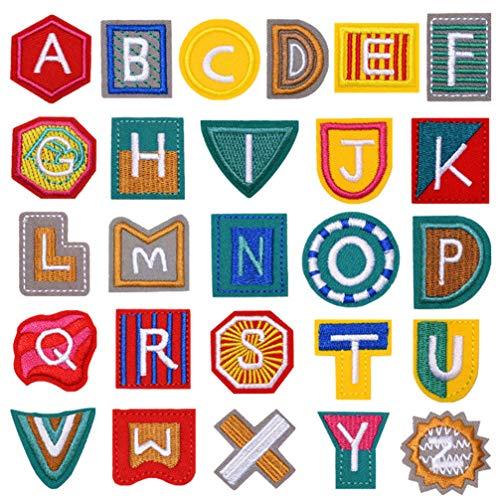 SUPVOX 26 piezas apliques parches 26 letras inglesas parches bordados apliques diy parche bordado tela pegatinas para ropa jeans bolsos