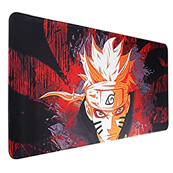 HoYiXi Naruto Large Mouse Pad Cartoon Customized Anti-Slid Rubber Base Stitched Edges Waterproof Mouse Pad Gaming Mouse Mat 35.5x16 in for Home Office Internet cybercafe ,Naruto
