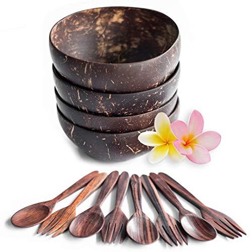 Bali Harvest Original Coconut Bowl and Wooden Rosewood Spoons Forks - 100% Vegan & Natural Handmade Cereal Bowls Set - Coconut Shells (4 Bowls with 4 Spoons and 4 Forks)