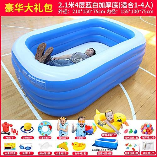 Aerlan Swim Center Paradise Seaside Pool,Pool Kindergarten Sommer aufblasbar,Übergroße hochtemperaturbeständige Badeverdickung im aufblasbaren Freibad mit Einer Verdickung von 2,1 m/4 Stockwerken B.