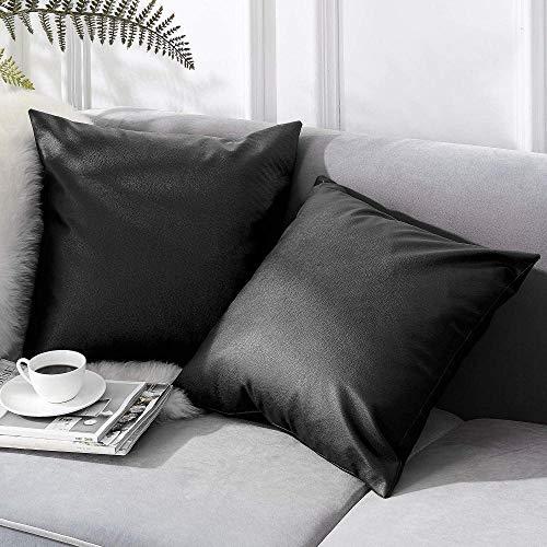 Chenso Juego de 2 Fundas de cojín de Cuero Funda de cojín decoración sofá para Sala de Estar Dormitorio Coche suave-50 x 50 cm_Negro_
