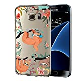 Cocomong Compatible with Galaxy S7 5.1' Clear Case Fun Sloth Pattern Design for Samsung Galaxy S7 Phone Case Flexible TPU Protective Shockproof Anti-Scratch-Drop Cute Sloth Cover for Girls Women Men