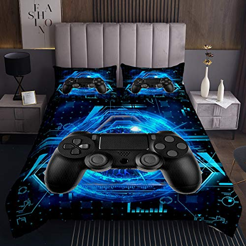 Jungen Gamepad Tagesdecke 240x260cm für Kinder Videospiel Steppdecke Modern Schwarz Spiel Controller Design Bettüberwurf Schick Cool Action Button 3St