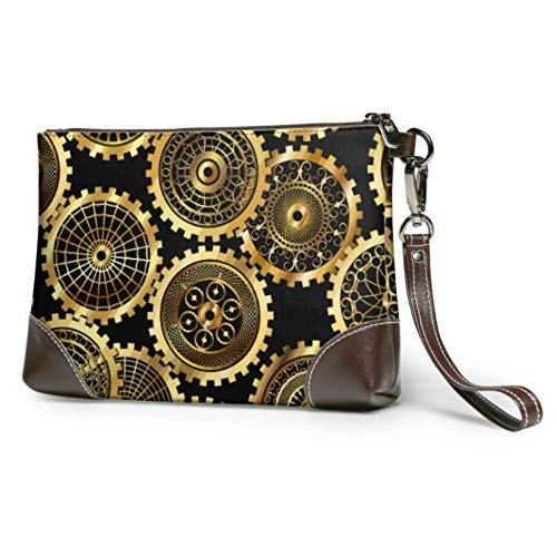 Leather clutch Soft Waterproof Party Clutch Bag Gears Soft Leather Clutch With Zipper For Women Girls