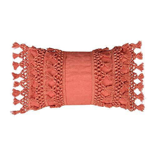 RAJRANG BRINGING RAJASTHAN TO YOU Fundas Cojín Macrame Cojín - Funda de Almohada Pequeño Coral Decorativo para sofá Cama Acolchado con borlas 50 x 30 cm