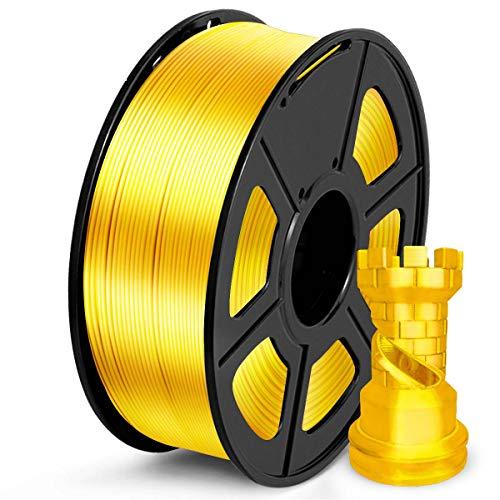 SUNLU Filamento PLA 1.75mm Silk Oro, lmpresora 3D Filamento PLA 1KG Carrete, PLA Silk Gold Filamento