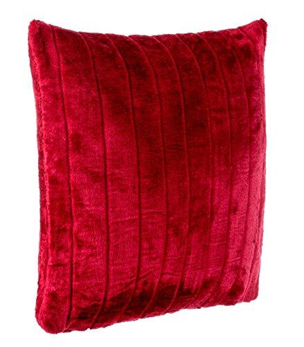 Brandsseller Nerzkissen Fellimitat Dekokissen Couchkissen Sofakissen - besonders weich und kuschelig - in Verschiedene Motive (50x50 cm, Rot)