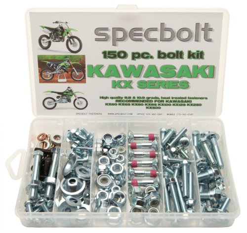 150pc Specbolt Kawasaki KX Two Stroke Bolt Kit for Maintenance & Restoration of MX Dirtbike OEM Spec Fastener KX60 KX65 KX80 KX85 KX100 KX125 KX250 KX500 60 65 80 85 100 125 250 500
