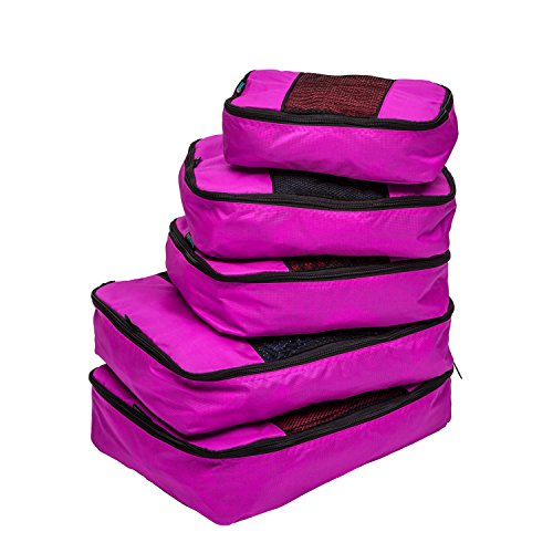 TravelWise Luggage Packing Organization Cubes 5 Pack, Pink