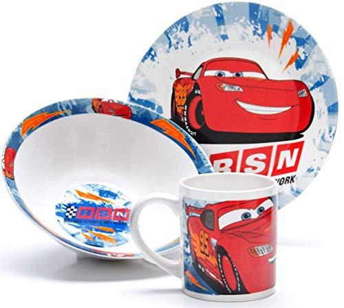 Cars Ceramic - Juego de comida (3 piezas, plato, cuenco y taza)