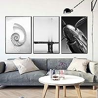 ブラックホワイトシーオーロラブリッジヘリコプターウォールアートキャンバス絵画壁の写真リビングルーム北欧の装飾家の装飾50x75cm-3個フレームレス