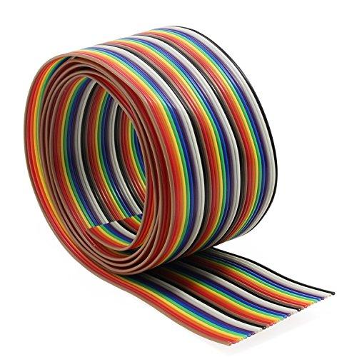Aussel Flachbandkabel 1,27 mm Rainbow Color Flachkabel für 2,54 mm Steckverbinder (30Wire/3M)