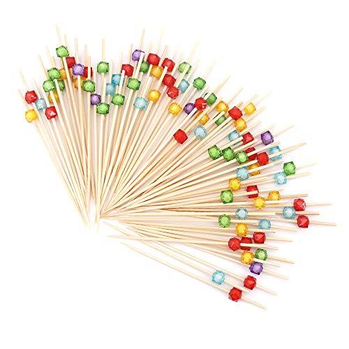 Lifreer - Palillos de cóctel (300 unidades, 12 cm, palillos de bambú para cócteles, barbacoas, kebabs, cócteles, fiestas, bandeja decorativa