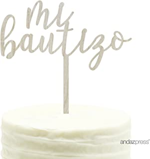 Andaz Press Baby Baptism Wood Cake Toppers, Mi Bautizo, 1-Pack
