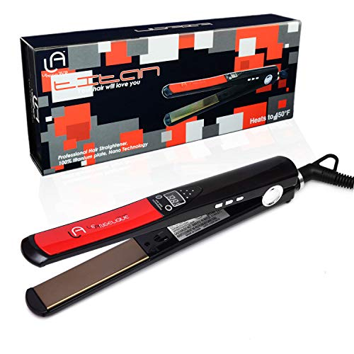 "Le Angelique Titan Titanium Nano 450F 1"" Flat Iron Hair Straightener Dual Voltage 110v-240v"