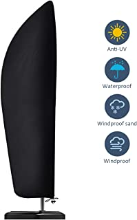 Estefanlo Funda para sombrilla, Impermeable, Resistente al Viento, Anti-UV, Resistente a desgarros, Tela Oxford 210D, Extra Grande, voladizo, con Cremallera, (265 x 40/70 / 50 cm), Color Negro