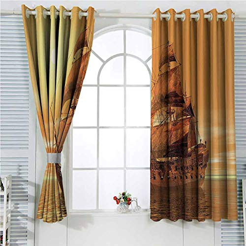 Price comparison product image Ford Mackintosh Redwood Marigold and Light Yelow Grommet Curtains 45 Inch Lenght,  Ancient Backdrop Photography Curtains 55x45 Inch Soundproof Curtain for Girls