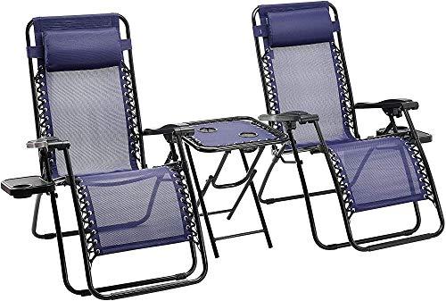 LHXFAN Relax-Liegestuhl mit Beistelltisch, Gartenliege Sonnenliege Klappbar und verstellbar Gartenstuhl, 2er-Set - Blau