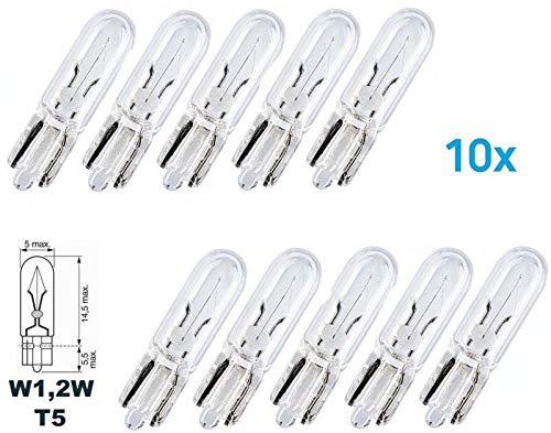 10x Stück – W1.2W - W2.1x9.5d - T5-1.2W - KFZ Beleuchtung - LONGLIFE - Glühlampe Glassockellampe Glühbirne Soffitte Autolampen WERKSTATTWARE/chiavi