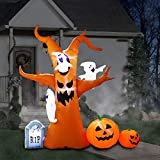 8 x 8 Ft Inflatable Halloween Tree with Ghost Pumpkin Gravestone Decoration Inflatables for Home Yard Lawn Garden Party Indoor Outdoor