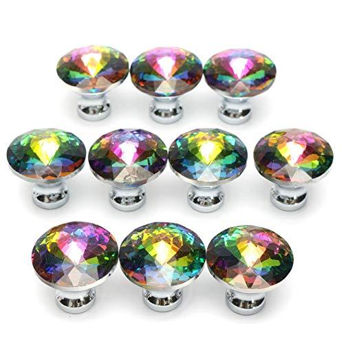 Tiradores Para Muebles 10 Piezas 28 Mm Forma De Cristal De Diamante Perilla De Gabinete De Vidrio Tirador De Cajón De Armario Para Muebles De Dormitorio Herrajes Para Gabinetes