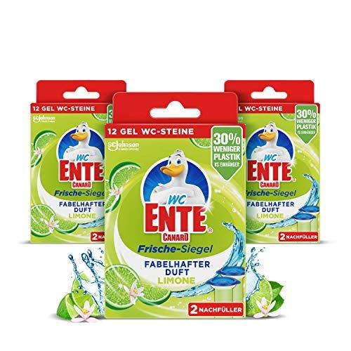 WC-Ente Frische-Siegel Nachfüller, körbchenloser WC-Reiniger, 3 x 12 Gel WC-Steine, Limone Duft, 3er Pack (3 x 72 ml)